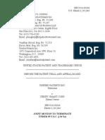 Unified Patents Inc. v. Verify Smart Corporation, IPR2016-00836, Paper 4 (June 22, 2016) (Joint Mot. Term.)
