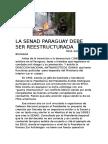 SENAD PARAGUAY DEBE SER REESTRUCTURADA