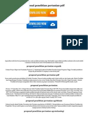 Proposal Penelitian Pertanian Pdf