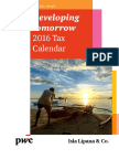 PWC Tax Calendar 2016