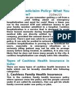 Cashless Mediclaim Policy