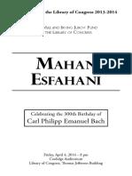 Esfahani, Recital Program, Library of Congress 2014-04-04