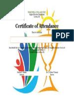 Certificate of Attendance -J. Rufo Almariego
