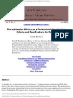 John F. Bradford - The Indonesian Military as a Professional
