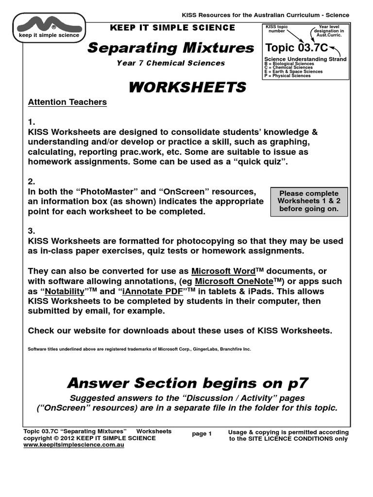 Workbooks mixture worksheets : Worksheets.03.7c.mixtures | Solution | Filtration