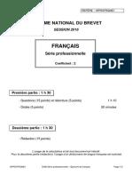 Dnb 2016 - Français - Questions - Réécriture - Série Professionnelle