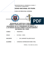 Perfil Etiologico de La NACen Niños de 2 a 59 Meses en Dos Zonas Ecologicamente Distintas Del Peru