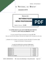 Dnb 2016 - MATHEMATIQUES - Série Professionnelle