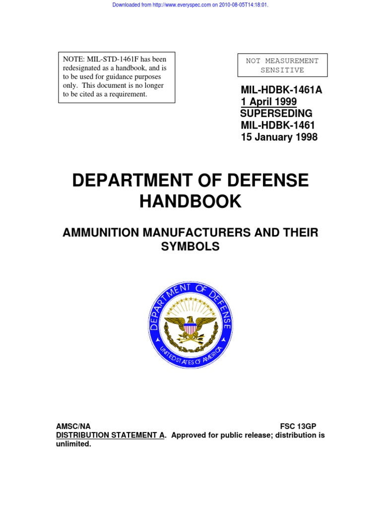 mil hdbk 1461a ammo manufacturer and symbol