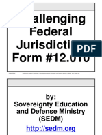 Challenging Federal Jurisdiction Course, Form #12.010