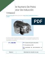 Cálculo de Numero de Polos de Un Motor de Inducción Trifásico
