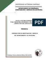 Manual Procedimiento Registro e Informe Servicio Social Zootecnia