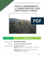 Estudio de Ordenamiento Territorial Comunitario Del Ejido San Antonio Texcala, Puebla
