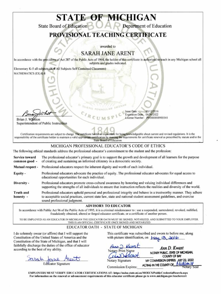 Arent Miteachingcert Notary Public Teachers