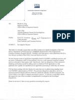 USDA under secretary request for OIG investigation