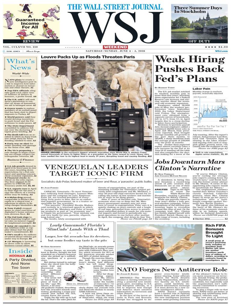 Wall Street Journal June 4 2016 | Shooting Of Laquan Mc Donald | Zika Fever