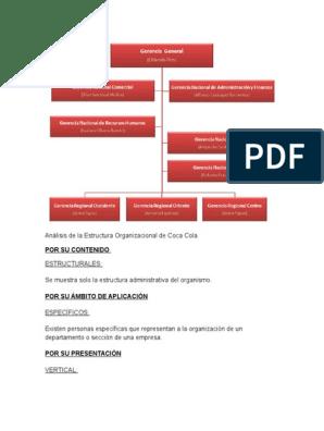 Análisis De La Estructura Organizacional De Coca Cola Docx