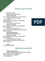 Actividades Fin de Semana 24, 25 y 26 de Junio 2016