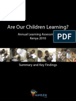 Uwezo-Kenya Summary and Key Findings