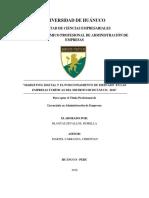 Tesis II - Marketing Digital y el Pocisionamiento de Mercado en las empresas Turisticas del Distrito de Hco