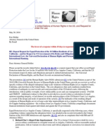 10-05-20 Request for Equal Protection by Attorney General Eric Holder of the 10 million residents of Los Angeles County, Calfornia, and respect for duties and obligations of the US government in international law and accords-s