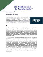 A Situação Política e as Tarefas Do Proletariado