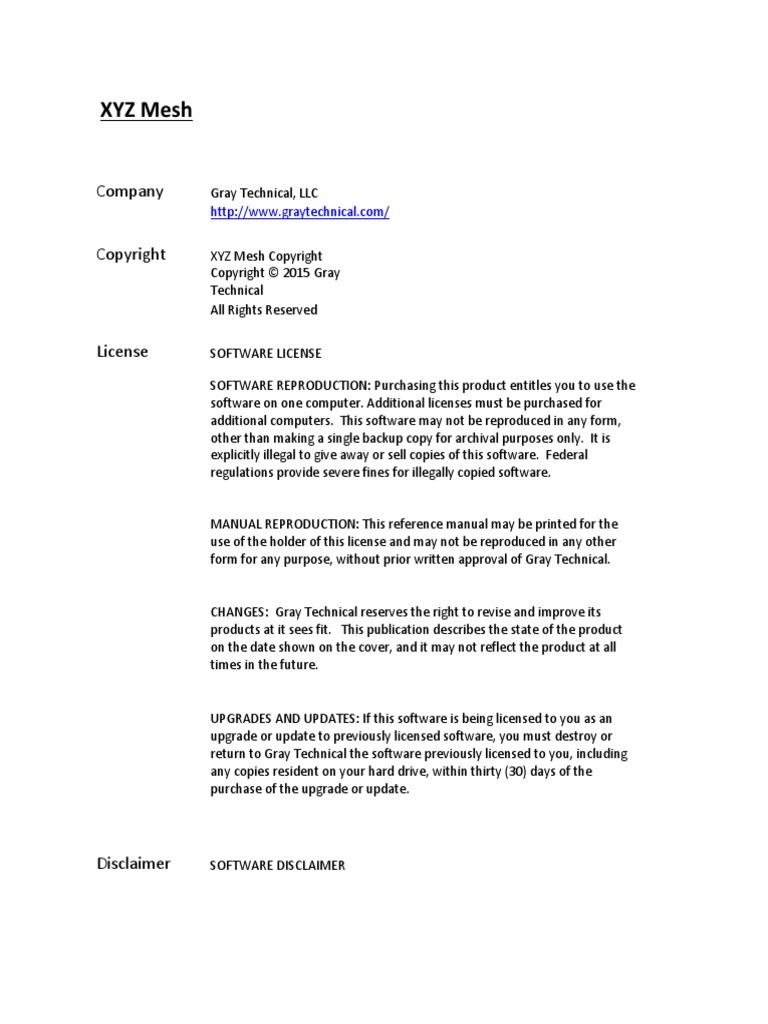 XYZ Mesh Manual PDF | Microsoft Excel | Copyright