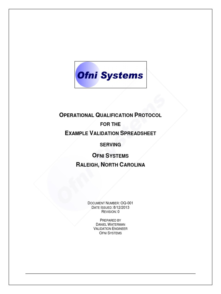Operational Qualification Template | Verification And Validation ...