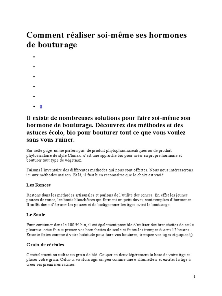 Calendrier Bouturage Pdf.Comment Hormone Bouturage