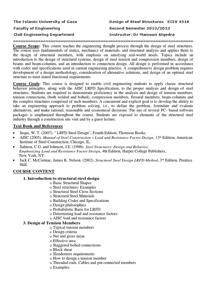 Plan Global Estructuras Metalicas - The Islamic University of Gaza |  Buckling | Design