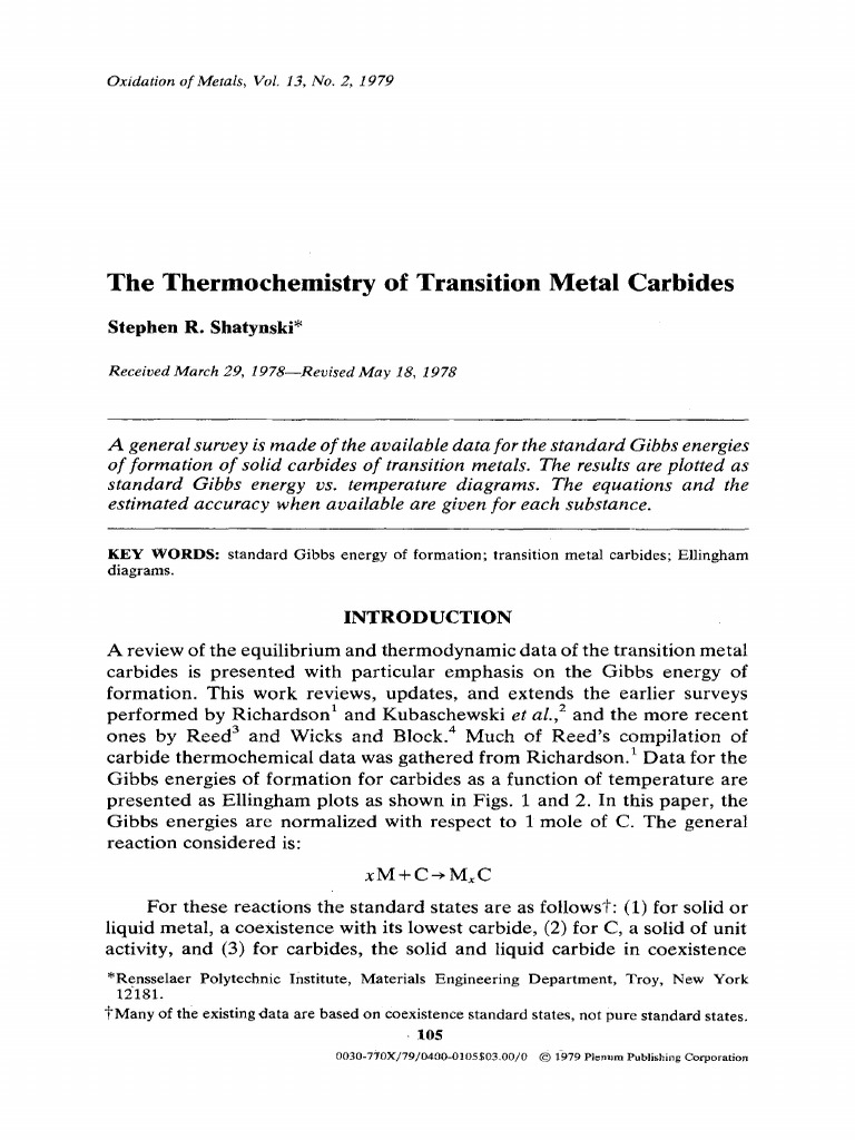 The thermochemistry of transition metal carbides melting point the thermochemistry of transition metal carbides melting point materials ccuart Image collections