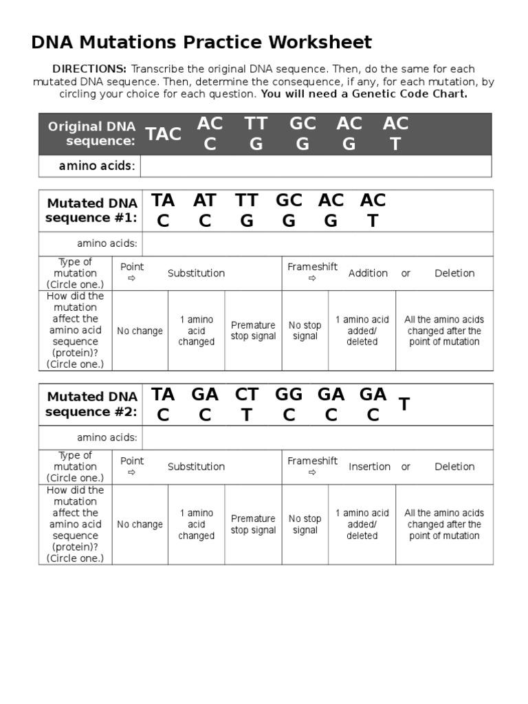 Workbooks sequence practice worksheets : Dna Mutation Worksheet - Phoenixpayday.com