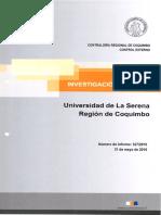 INFORME DE INVESTIGACIÓN ESPECIAL 327-16 UNIVERSIDAD DE LA SERENA INCUMPLIMIENTO DECRETO N° 137 DE 1987 DE ESA UNIVERSIDAD Y EVENTUALES IRREGULARIDADES EN EL PROCESO DE ACREDITACIÓN DE LA CARRERA DE PERIODISMO - MAYO 2016