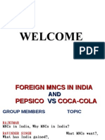 Foreign Mnc's in India and comparision Between Pepsico and Coca-cola