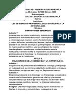 Ley Ordinaria de Ejercicio Profesional de La Sociología y La Antropología - Notilogía
