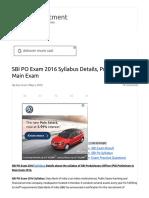 SBI PO Exam 2016 Syllabus Details, Preliminary & Main Exam