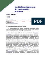 A Crise Do Reformismo e a Formação Do Partido Revolucionário