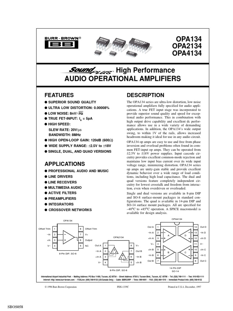 2PCS OPA4134UA SOP-14 OPA4134 High Performance AUDIO OPERATIONAL AMPLIFIERS