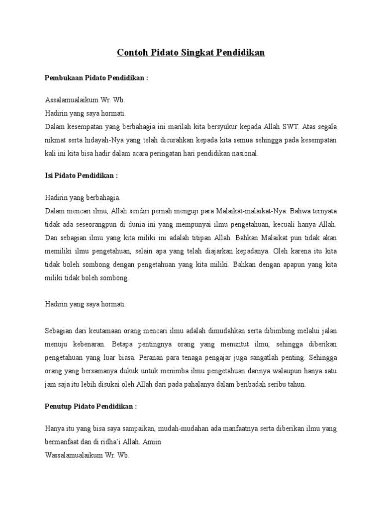 Contoh Pembukaan Pidato Tema Pendidikan Kumpulan Artikel