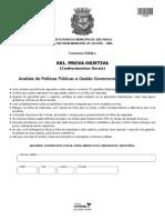 Vunesp 2015 Prefeitura de Sao Paulo Sp Analista de Politicas Publicas e Gestao Governamental Conhecimentos Gerais Prova