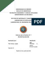 Metalurgia - Informe N° 7. Recristalización.docx