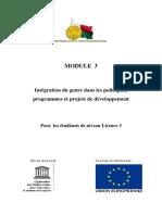 Intégration du genre dans les politiques, programmes et projets de développement