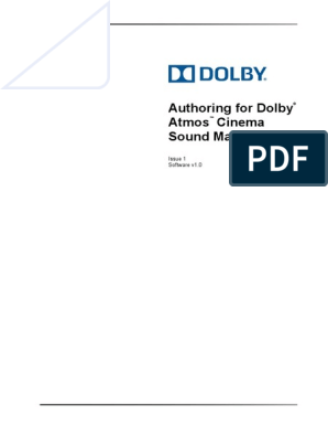 Authoring for Dolby Atmos Cinema Sound Manual(1) | Installation