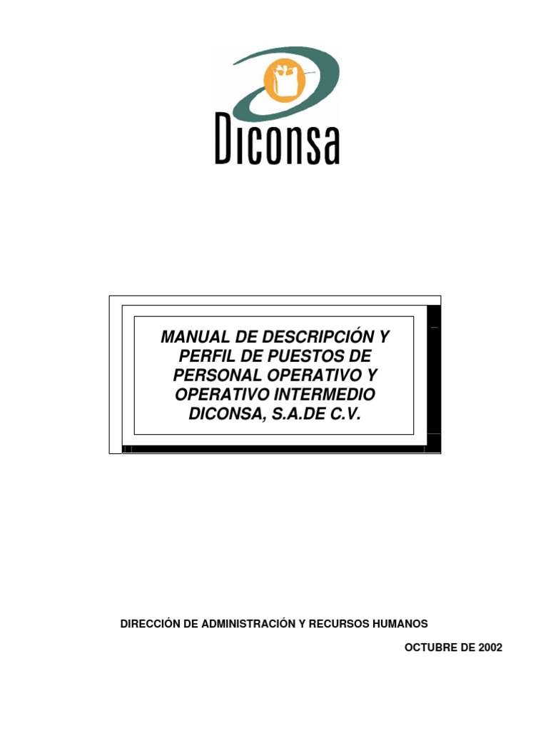 Manual de Descripción y Perfil de Puestos de Personal Operativo y ...