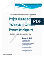 Project Management Techniques in context of Product Development