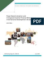 411919 Fiscal Decentralization and Intergovernmental Finance Reform as an International Development Strategy