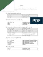 Algebra I (Basic Exercise)