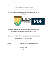 Fuentes de Financiamiento y El Desarrollo de Una Mype