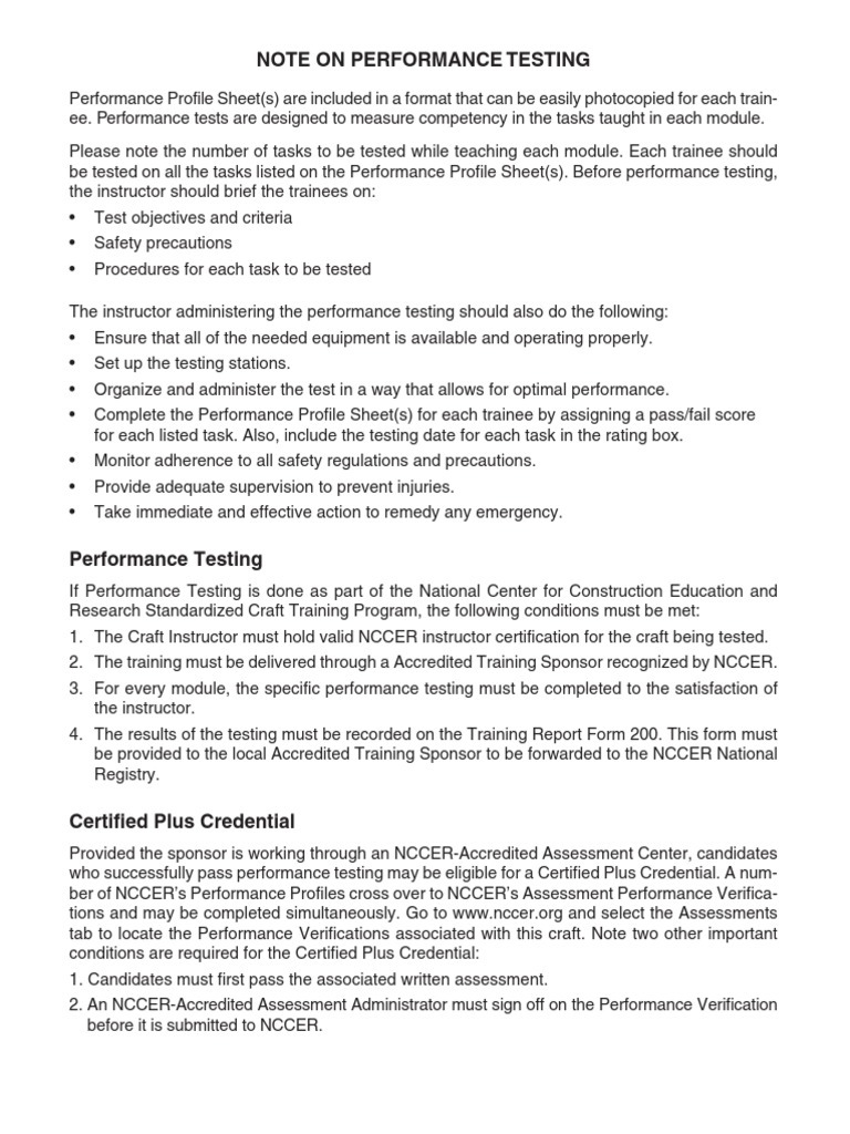 Advanced Rigger 1ed Performance Profiles | Test (Assessment) | Credential