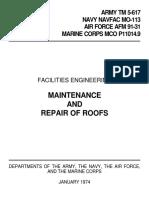 -Facilities Engineering - Maint, Repair of Roof [US Army TM 5-617] (1974)